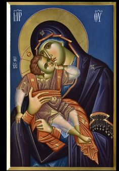 Maria Madonna icon painting garnment Icongraphy folders Mother Of Christ, Blessed Mother, Mother Mary, Religious Images, Religious Icons, Religious Art, Christ Pantocrator, Christian Mysticism, Queen Of Heaven