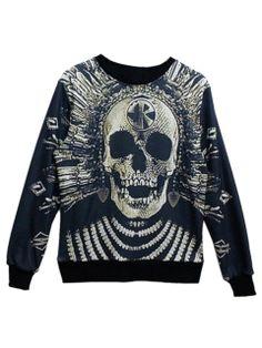 Black 3D Unisex Sweatshirt With Skull Print