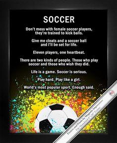 Soccer Female Player Splatter 8x10 Sport Poster Print