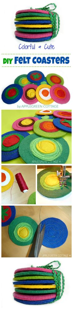 Easy felt coasters tutorial -  If this isn't a perfect homemade gift!