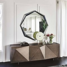 This Italian made faceted favorite is stunning from all angles! The Kayak 3-Door Sideboard makes for the ideal focal point piece by adding visual interest and textural diversity to your space, all while providing adequate storage space. Glass Shelves, Wall Shelves, Sideboard, Kayaking, Clear Glass, Storage Spaces, Modern Furniture, Modern Design, Doors