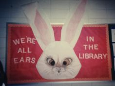 "This extra large rabbit is a cute idea for a spring bulletin board display (near Easter time).  I like the title ""We're All Ears .... "", as it is easy to adapt for a variety of different topics and subjects."