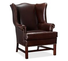 Thatcher Leather Armchair, Polyester Wrapped Cushions, Leather Signature  Berry Red. Leather Wingback ChairWingback ...