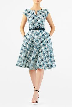 I <3 this Floral print cotton check belted dress from eShakti