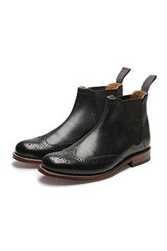 Grenson Black Jessie Brogue Chelsea Boot