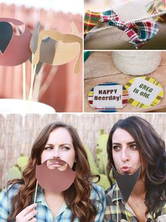 Great party idea for guys. Beer tasting and beards on sticks... bottle cap coasters..