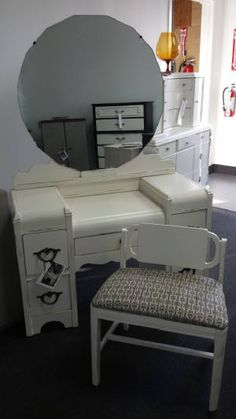 vintage art deco vanity with bench distressed shabby chic