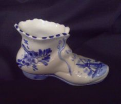Vintage Delft Blue Ceramic Shoe Figurine
