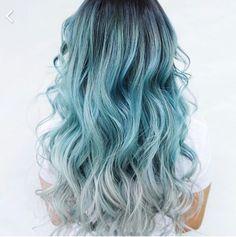 Ombré blue curls