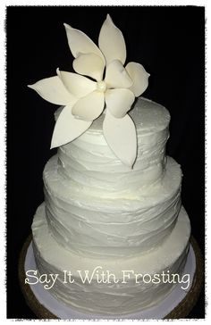 Pensacola Destination Wedding Cakes Rustic Buttercream Cake With Handmade Gumpaste Flower Topper For An