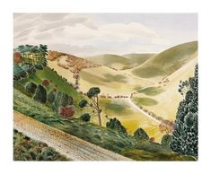 The Causeway, Wiltshire Downs 1937 by Eric Ravilious