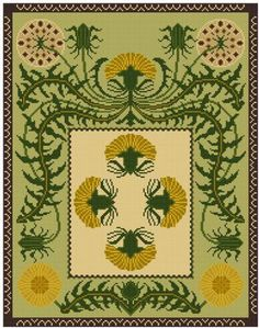 Botanical Floral Dandelion Panel Cross stitch pattern by Whoopicat, $8.00