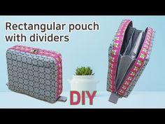 DIY Pouch with divider/Pouch/칸막이 파우치//지퍼파우치/Beutel mit Trennwänden Pencil Case Tutorial, Purse Tutorial, Sew Wallet, Fabric Wallet, Handbag Patterns, Bag Patterns To Sew, Sewing Case, Pouch Pattern, Purse Organization