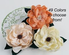 Large Southern Magnolia Fabric Flower Satin Ribbon Flower Color Options Wedding Flower DIY Bouquet Ribbonwork Flower Woodland Garden Party