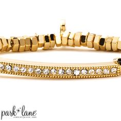 Serena Bracelet  SERENA stretch-to-fit strand of nuggets and single file channel of crystals comes in gleaming gold as well as hematite and rose gold. Complements gold, hematite and rose gold ensembles.