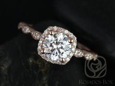 Christie 65 mm 14kt or FB Moissanite et Diamond Halo par RosadosBox
