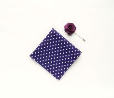 Men's purple polka dot pocket square wedding gift for men purple boutonniere flower lapel pin groomsmen by TheStyleHubTrends on Etsy