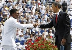 Naval Academy graduate Chauncy Gray had a commencement to remember when he fistbumped the president during his graduation ceremony in Annapolis, Maryland on May Fist Bump, Naval Academy, Barack Obama, Presidents, Graduation, Annapolis Maryland, United States, Couple Photos, Image