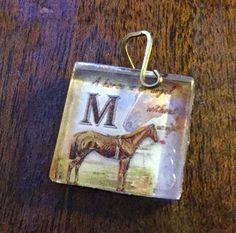 M  Horse Image Glass Tile  hand forged Vintaj brass bail pendant