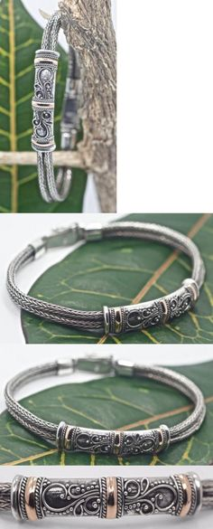 Women Jewelry: Handmade Sterling Silver .925 2X Tulang Naga Bracelet W 18K And Swirl Accents. BUY IT NOW ONLY: $69.8