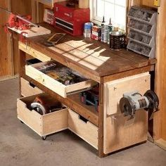 Like this workbench. Upgrade any workbench with these DIY enhancements. 7 simple projects enhance functionality and increase the storage capacity of your workbench. Most can be built in a day; some in less than 15 minutes! Garage Tools, Diy Garage, Garage Shop, Garage Office, Garage Exterior, Small Garage, Workshop Storage, Garage Workshop, Workshop Ideas