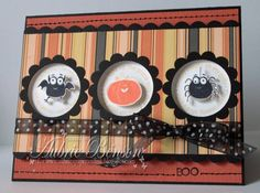 Stamps: Batty for You, Straight UP mini Alpha                                         Paper: Basic Black, Really Rust Textured, Whisper White                                         Ink: Basick Black, Tangerine Tango, So Saffron                                         Accessories: Scallop CIrcle, 13/8circle, scallop punches, paper piercing mat, balck and white polka dotted ribbon