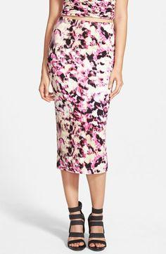 Leith+High+Waist+Print+Midi+Skirt+available+at+#Nordstrom