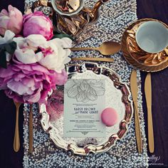Hunter Valley Wedding Planner Magazine Edition 17 product photoshoot _Photo by Candice Campbell Photography_ Flowers by Essential Events_Stationery by Sweet Ink_Macaron by Wild Rose Sweets and Styling (p175), Silver Tray, Table Runner, Tea Set + Cutlery by The Vintage Events Co.