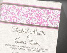 Pink Brown Rustic Country Burlap Linen Wedding Invitation