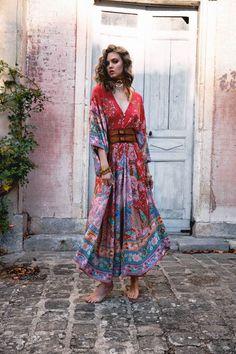 Wild Gypsy Red Bat Sleeve Maxi Dress - ChicBohoStyle – Chic Boho Style Chic Dress, Boho Dress, Bohemia Dress, Red Maxi, Maxi Dress With Sleeves, Boho Outfits, Minimalist Fashion, Boho Fashion, Fashion Hair