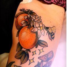 Some freehand Florida Orange action done by Robert J. in Jacksonville Beach, FL , , best tattoo Arm Sleeve Tattoos, Forearm Tattoos, Small Tattoos, Cool Tattoos, Jacksonville Beach Fl, Fruit Tattoo, Florida Tattoos, C Tattoo, Cute Tats