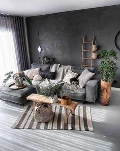 Interior Design Ideas to Thai Style Home Wabi Sabi Boho Living Room, Living Room Colors, Small Living Room Design, Grey Couch Living Room, Home Living Room, Apartment Living Room, Organic Living Room, Living Room Paint, Couches Living Room