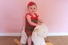 A personal favorite from my Etsy shop https://www.etsy.com/listing/254091912/christmas-baby-headband-and-romper
