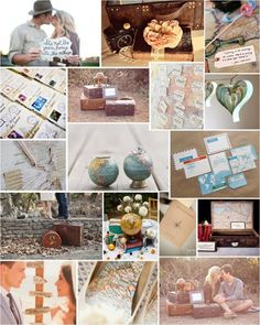 "Travel Themed Wedding - Inspired idea to have the guest ""book"" as a map and each person can pin their favorite vacation destination."