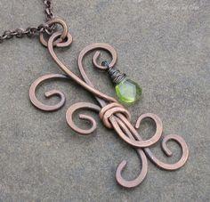 Antiqued Copper Metalwork Tree Pendant