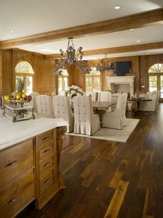 Walnut wood floors are so rich in appearance and really accentuate this room Walnut Wood Floors, Hickory Flooring, Wooden Flooring, Flooring Ideas, Kitchen Redo, Kitchen Design, Mountain Modern, Floor Design, Remodeling