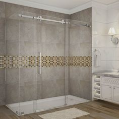 Aston Moselle 72 in. x 35 in. x 75 in. Completely Frameless Sliding Shower Enclosure in Chrome Shower Remodel, Shower Tile, Door Installation, Shower Enclosure, Remodel, Frameless Sliding Shower Doors, Shower Doors, Small Bathroom, Bathroom