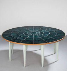 Bjørn Wiinblad; Wood and Ceramic Tile Dining Table, 1960s.