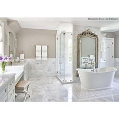 Asian Statuary 12x12 Polished Marble Tile Marble Tile Bathroom, White Marble Bathrooms, Marble Wall, Marble Tiles, Grey Bathrooms, Master Bathrooms, Bathroom Flooring, White Tiles, Bathroom Cabinets