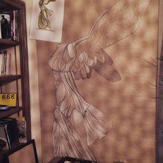 Samothrace's victory (louvre , paris) Work in progress Big Canvas, Drawing Art, Art Pieces, Louvre, Pastel, Museum, Statue, Paris, Photo And Video