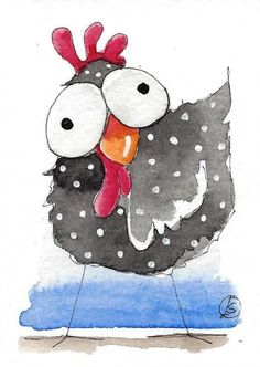 ACEO Original watercolor painting whimsical farm bird crazy chicken #IllustrationArt