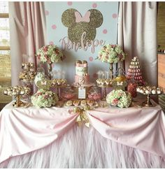 Don't Miss the 14 Most Stunning Pink Minnie Mouse Party Ideas! Minnie Mouse Theme Party, Minnie Mouse Birthday Decorations, Minnie Mouse Birthday Invitations, Minnie Mouse First Birthday, Minnie Mouse Baby Shower, Photo Birthday Invitations, Minnie Mouse Pink, 1st Birthday Girls, Birthday Parties