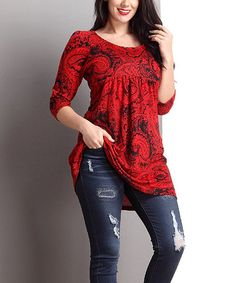 Look what I found on #zulily! Red Paisley Empire Waist Tunic - Plus #zulilyfinds