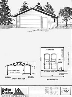 Reverse gable two car garage plan 672 3 28 39 x 24 39 by behm for Cost to side a garage