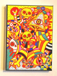 Original Bright Gothic Psychedelic Skull Art Gift,Modern Creepy Home Decor Gift £40.00