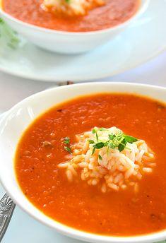 Kremowa zupa z pieczonej papryki i pomidorów z ryżem - etap 1 Calzone, Soup Recipes, Food And Drink, Pizza, Cooking, Ethnic Recipes, Kitchen, Board, Roasted Red Peppers