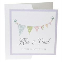 Bunting Pocketfold Wedding Invitation from Dreams to Reality