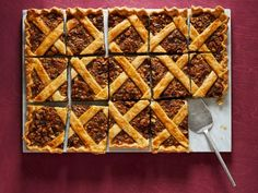 """Chocolate-Nut Slab Pie : """"With my seven siblings, we always needed several pies at Thanksgiving. A big slab pie would have been perfect!"""" says Melissa Gaman. Food Network Recipes, Food Processor Recipes, Pie Recipes, Dessert Recipes, Baking Recipes, Sweet Recipes, Cookie Recipes, Slab Pie, Pie Dessert"""