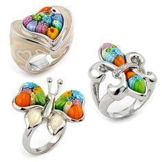 Murano glass rings