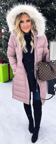 #winter #outfits purple parka jacket